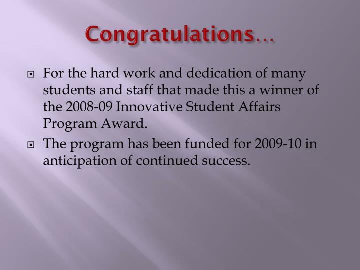 Congratulations…