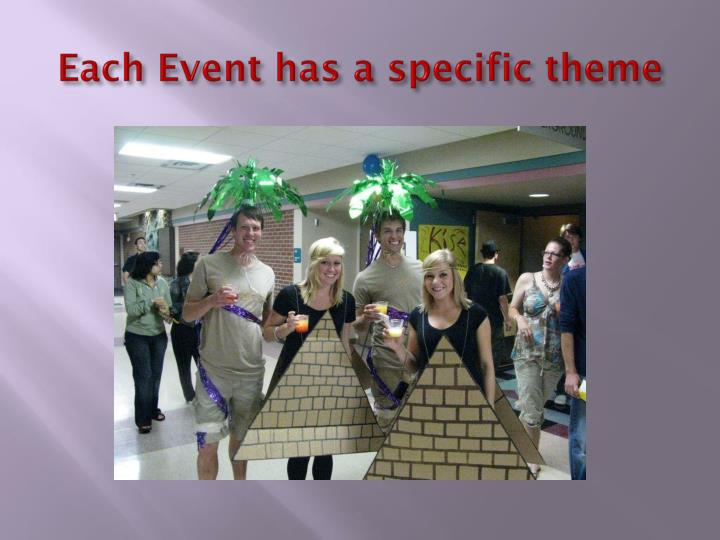 Each Event has a specific theme