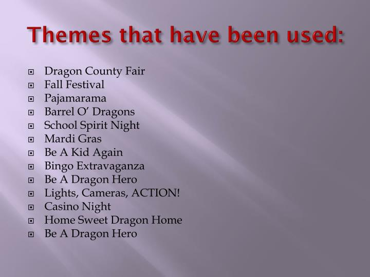 Themes that have been used: