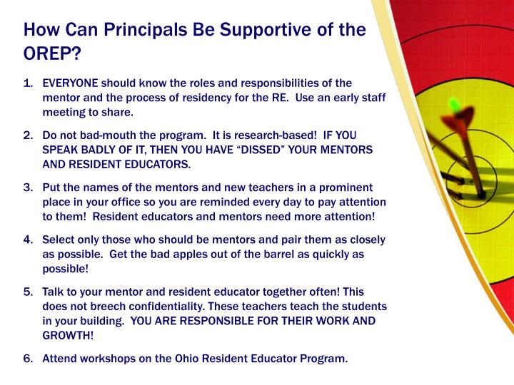 How Can Principals Be Supportive of the OREP?