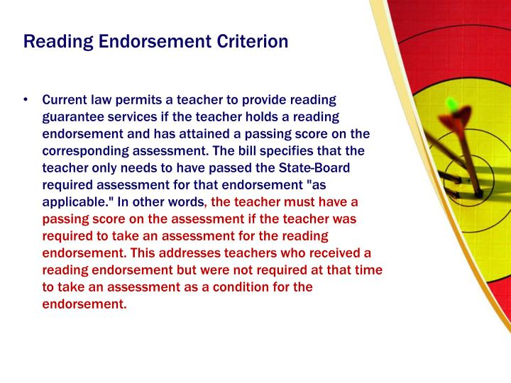 Reading Endorsement Criterion