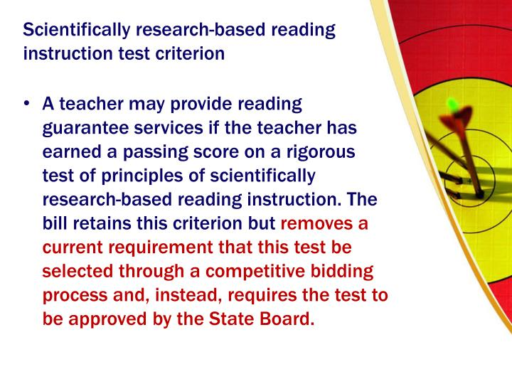 Scientifically research-based reading instruction test criterion