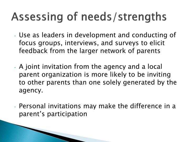 Assessing of needs/strengths