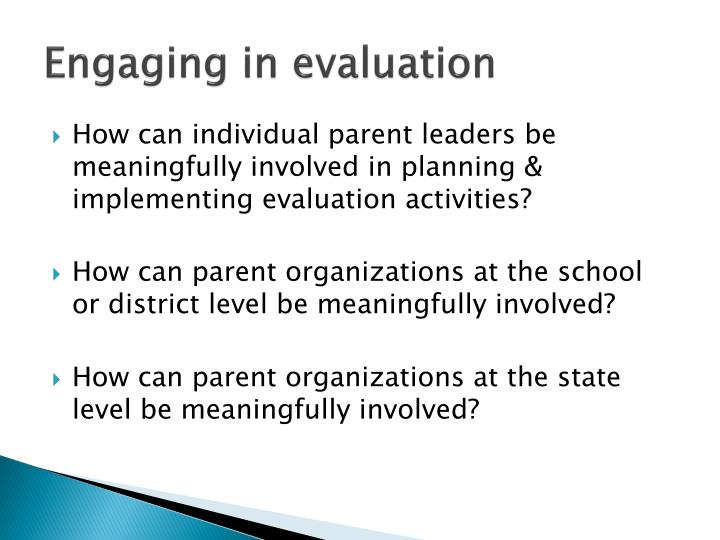 Engaging in evaluation