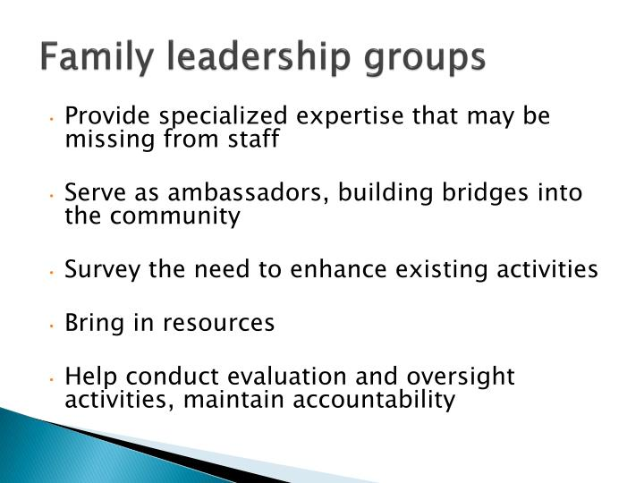 Family leadership groups