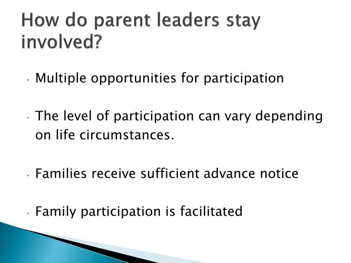 How do parent leaders stay involved?
