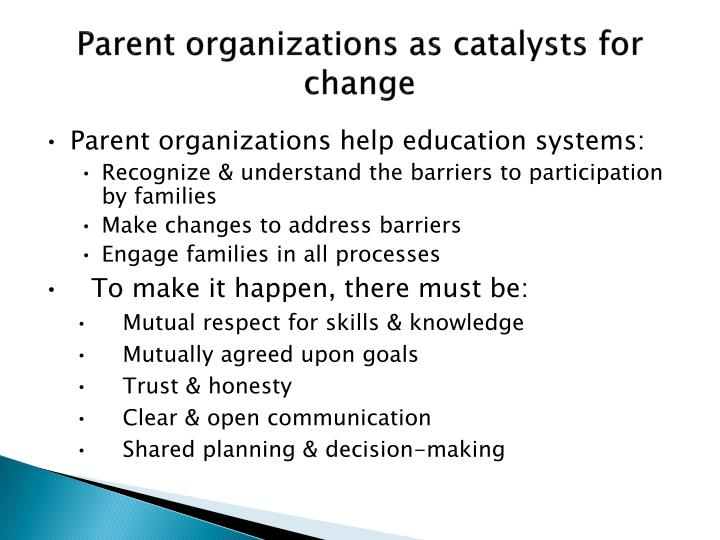 Parent organizations as catalysts for change