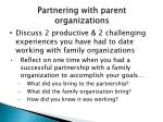 partnering with parent organizations