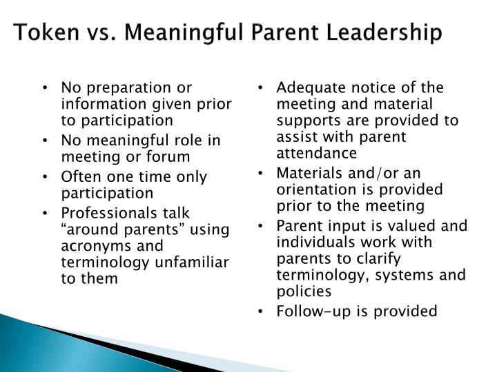 Token vs. Meaningful Parent Leadership