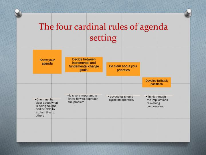 The four cardinal rules of agenda setting