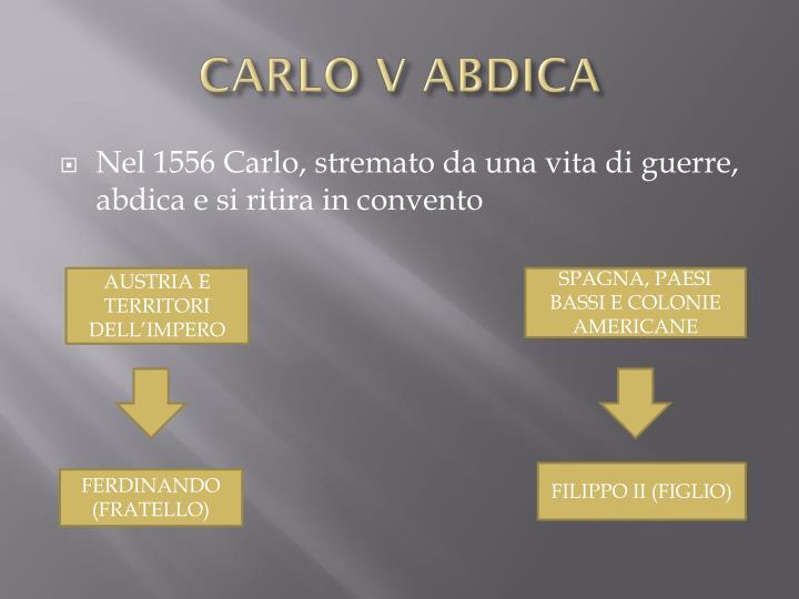 CARLO V ABDICA