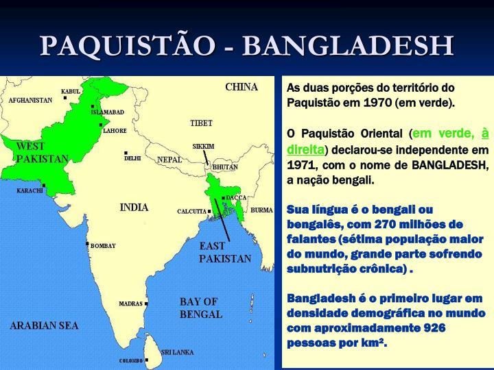PAQUISTÃO - BANGLADESH