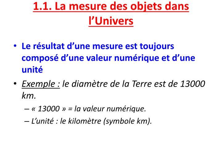 1.1. La mesure des objets dans l'Univers