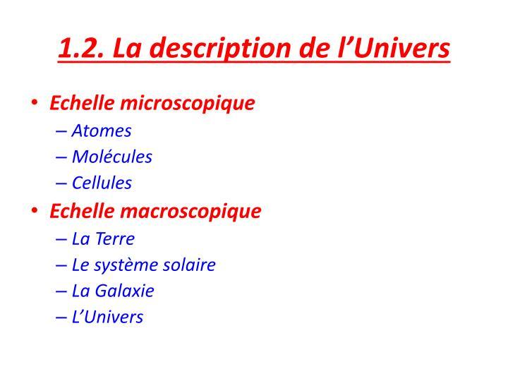1.2. La description de l'Univers