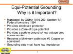 equi potential grounding why is it important
