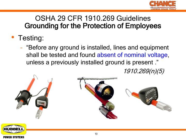 OSHA 29 CFR 1910.269 Guidelines