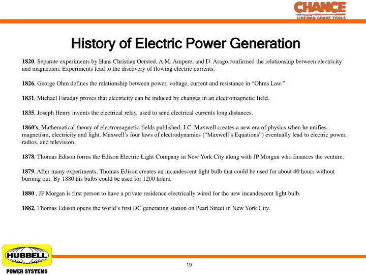History of Electric Power Generation