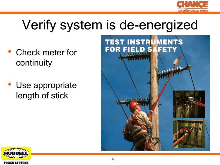 Verify system is de-energized