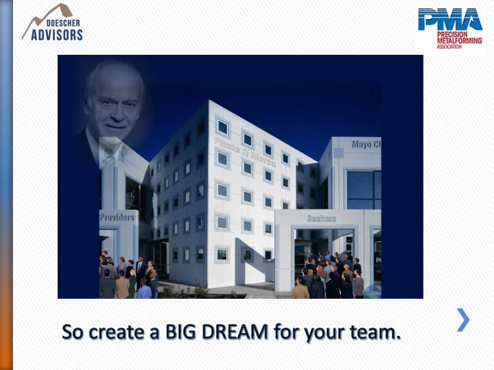 So create a BIG DREAM for your team.