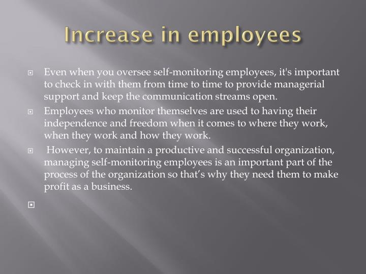 Increase in employees