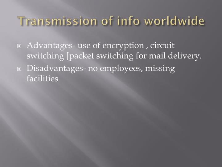 Transmission of info worldwide