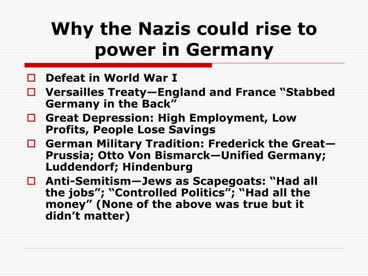 Why the Nazis could rise to power in Germany