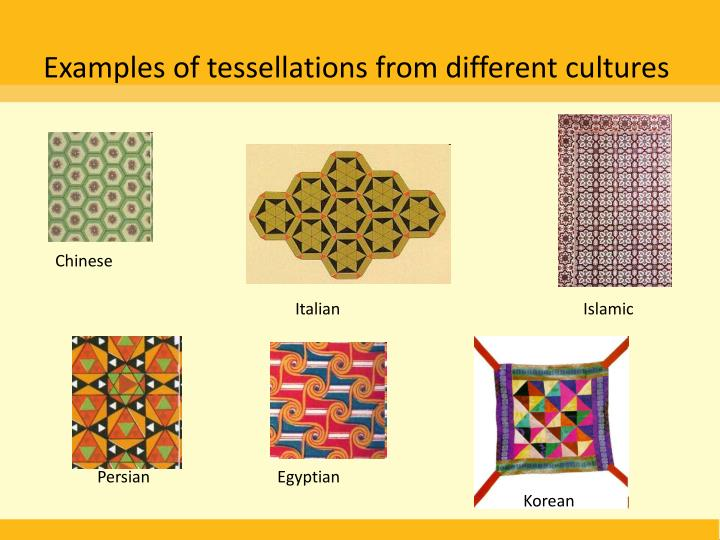 Examples of tessellations from different cultures