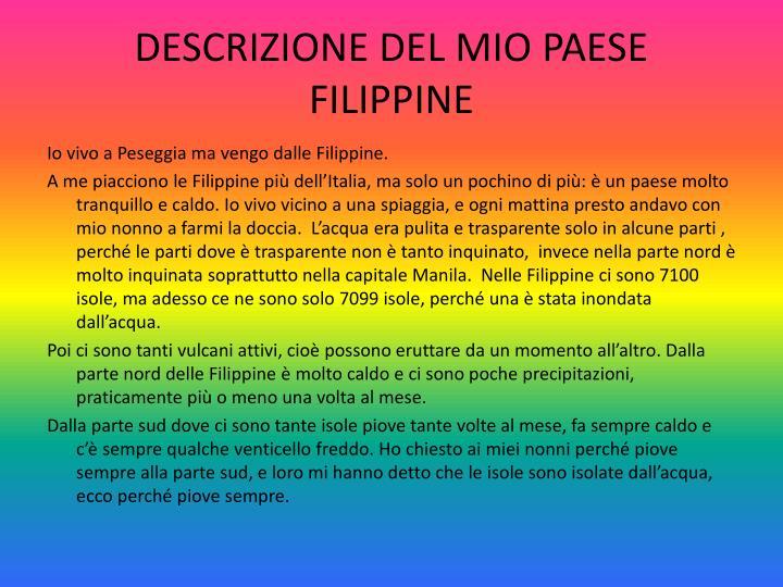 DESCRIZIONE DEL MIO PAESE FILIPPINE