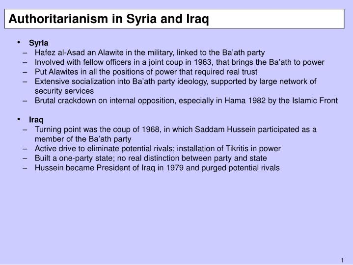 Authoritarianism in syria and iraq
