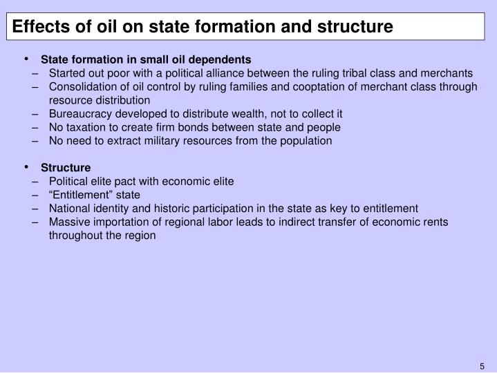 Effects of oil on state formation and structure