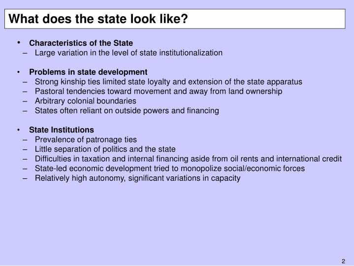 What does the state look like