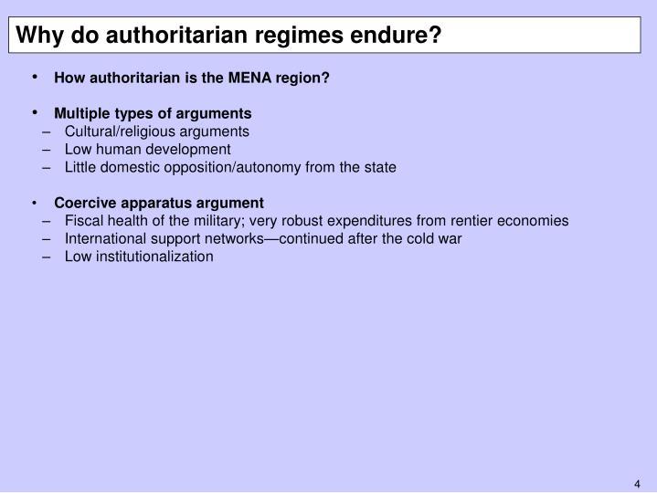 Why do authoritarian regimes endure?