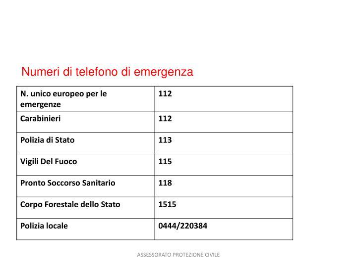 Numeri di telefono di emergenza