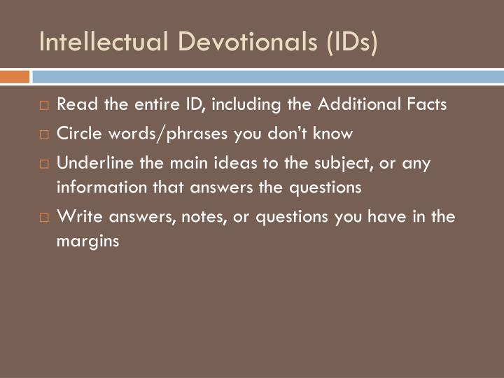 Intellectual Devotionals (IDs)