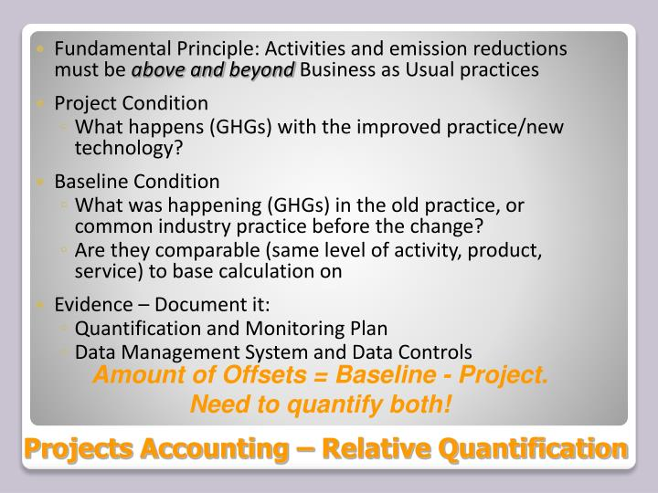 Projects Accounting – Relative Quantification