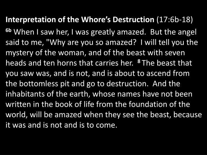 Interpretation of the Whore's Destruction