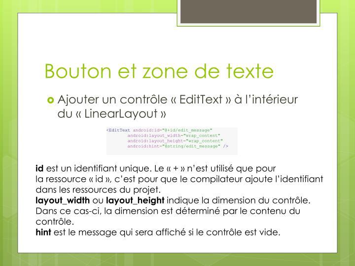 Bouton et zone de texte