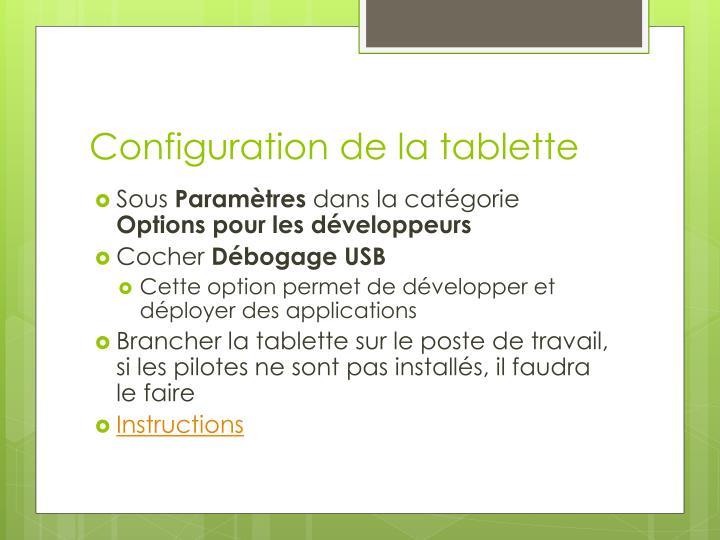 Configuration de la tablette