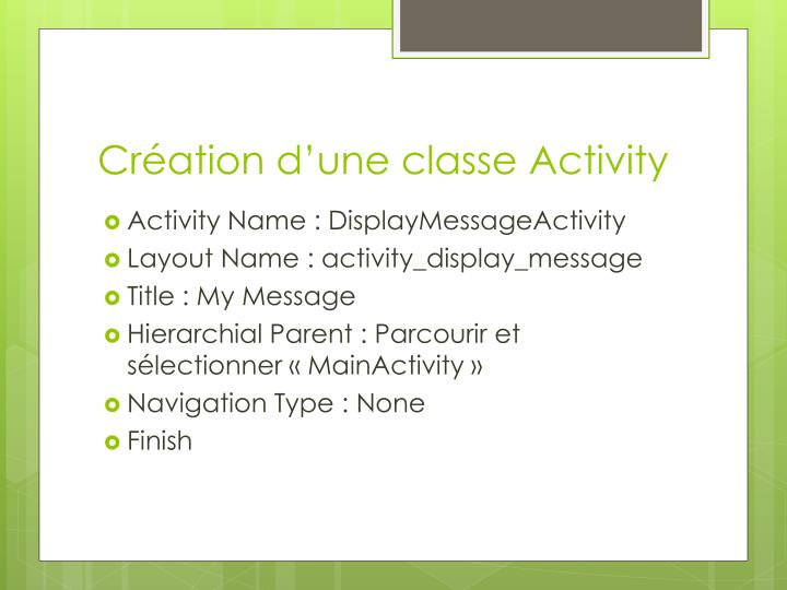 Création d'une classe