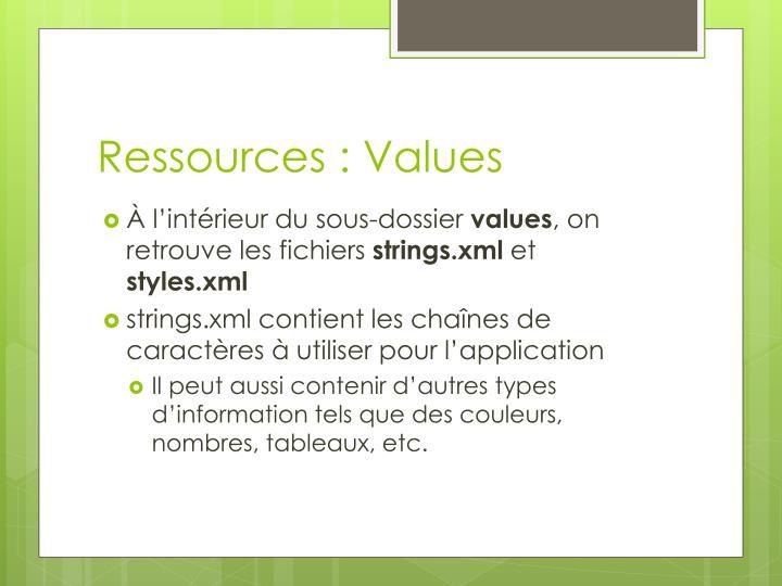 Ressources : Values