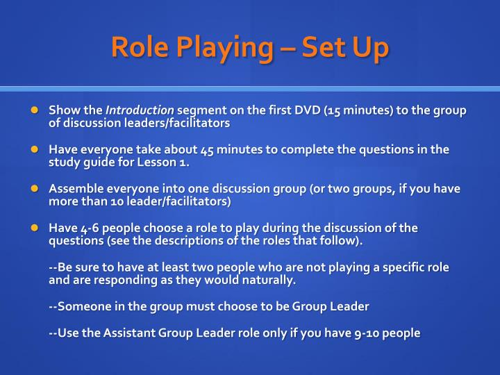 Role Playing – Set Up
