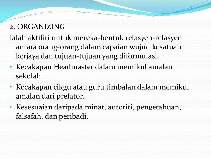 2. ORGANIZING