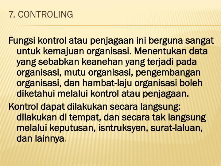 7. CONTROLING