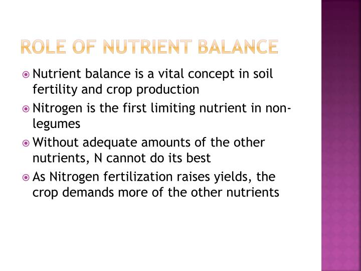 Role of Nutrient Balance