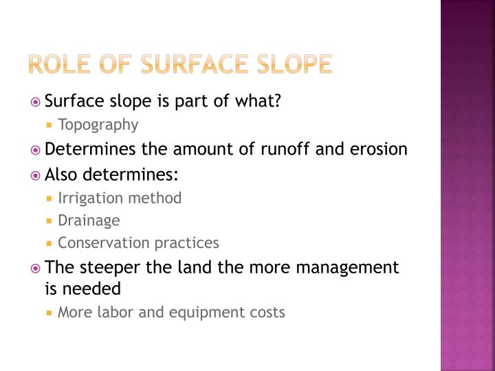 Role of surface Slope