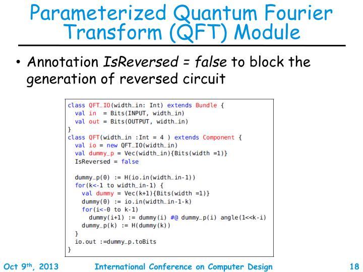 Parameterized Quantum Fourier