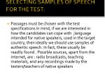 selecting samples of speech for the test