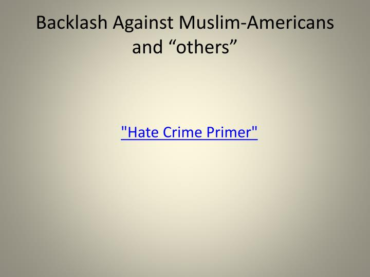 """Backlash Against Muslim-Americans and """"others"""""""