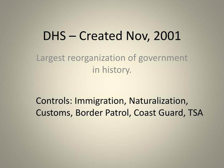DHS – Created Nov, 2001