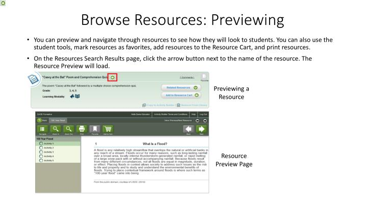 Browse Resources: Previewing